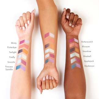 Swatches of Colourpop's My Little Pony palette tested on light, medium, and dark skin tones. Courtesy: Mayra R.