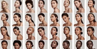 Different shades of women reflecting the foundation colors that are in the Fenty Beauty Makeup line. Photo credit: Elite Daily